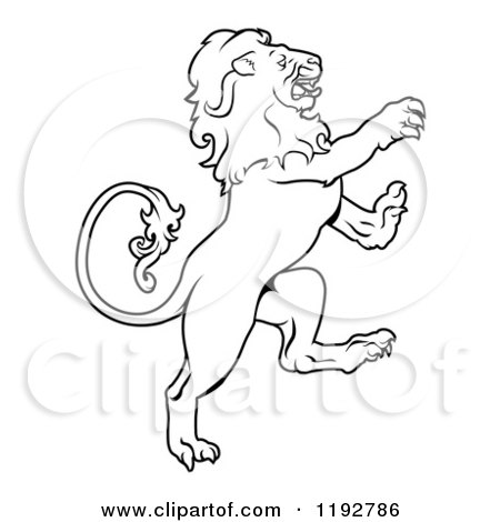 Clipart of a Black and White Leo Lion Zodiac Astrology ...