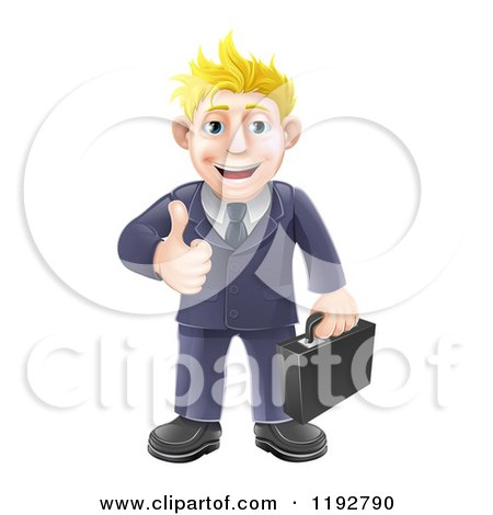 Cartoon of a Happy Blond Businessman Holding a Thumb up - Royalty Free Vector Clipart by AtStockIllustration