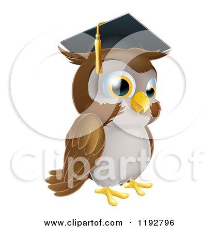 Cartoon of a Professor Owl with a Diploma and Graduation Cap ...