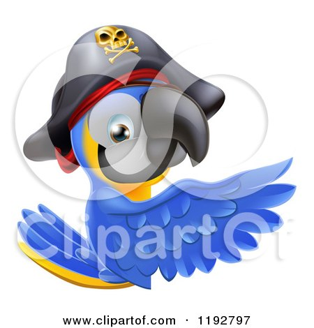 Cartoon of a Blue and Gold Macaw Pirate Parrot Presenting a Sign - Royalty Free Vector Clipart by AtStockIllustration