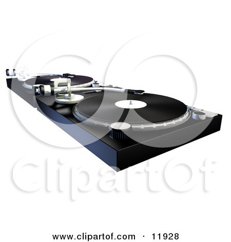 dj 39 s turntables with vinyl records clipart illustration by atstockillustration 11928. Black Bedroom Furniture Sets. Home Design Ideas