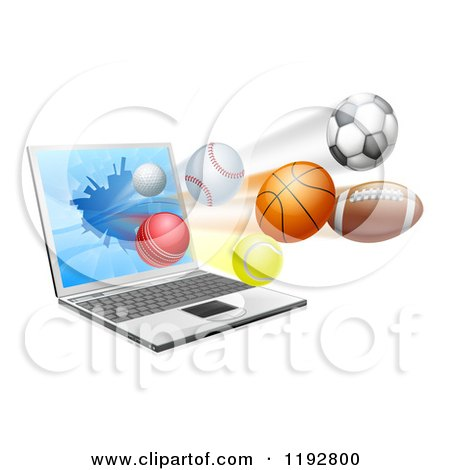 Clipart of a Laptop Computer and Sports Balls Flying from the Screen - Royalty Free Vector Illustration by AtStockIllustration