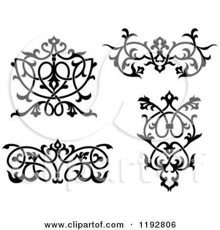 Clipart of Black and White Ornate Floral Victorian Design Elements - Royalty Free Vector Illustration by Vector Tradition SM
