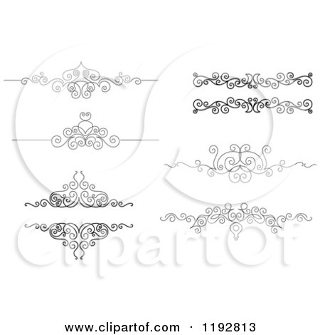 Clipart of Black and White Ornate Swirl Border Design Elements - Royalty Free Vector Illustration by Vector Tradition SM