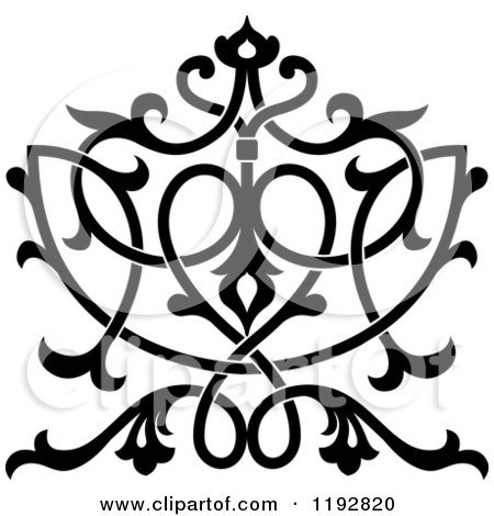 Clipart of a Black and White Ornate Floral Victorian Design Element - Royalty Free Vector Illustration by Vector Tradition SM