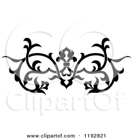 Clipart of a Black and White Ornate Floral Victorian Design Element 2 - Royalty Free Vector Illustration by Vector Tradition SM