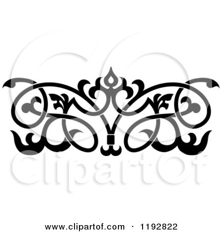 Clipart of a Black and White Ornate Floral Victorian Design Element 3 - Royalty Free Vector Illustration by Vector Tradition SM