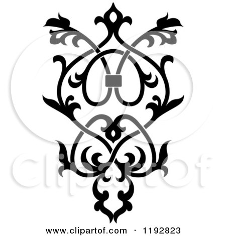 Clipart of a Black and White Ornate Floral Victorian Design Element 4 - Royalty Free Vector Illustration by Vector Tradition SM