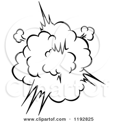 Clipart of a Black and White Comic Burst Explosion or Poof 2 - Royalty Free Vector Illustration by Vector Tradition SM
