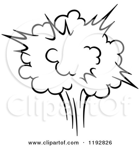 Clipart of a Black and White Comic Burst Explosion or Poof 3 - Royalty Free Vector Illustration by Vector Tradition SM