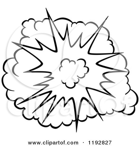 Clipart of a Black and White Comic Burst Explosion or Poof 4 - Royalty Free Vector Illustration by Vector Tradition SM
