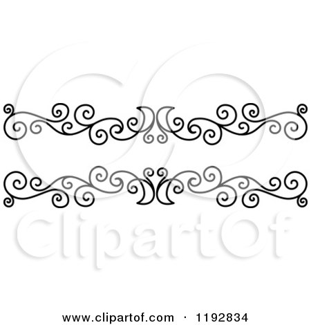 Clipart of a Black and White Ornate Swirl Border Design Element 2 - Royalty Free Vector Illustration by Vector Tradition SM