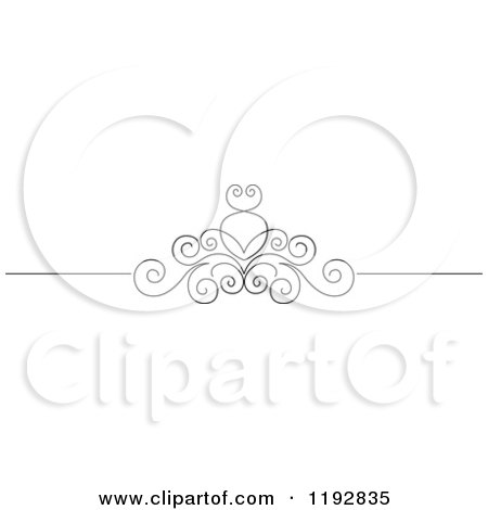 Clipart of a Black and White Ornate Swirl Border Design Element 3 - Royalty Free Vector Illustration by Vector Tradition SM