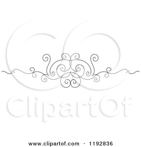 Clipart of a Black and White Ornate Swirl Border Design Element 4 - Royalty Free Vector Illustration by Vector Tradition SM