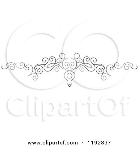Clipart of a Black and White Ornate Swirl Border Design Element 5 - Royalty Free Vector Illustration by Vector Tradition SM