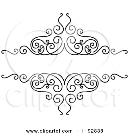 Clipart of a Black and White Ornate Swirl Design Element - Royalty Free Vector Illustration by Vector Tradition SM