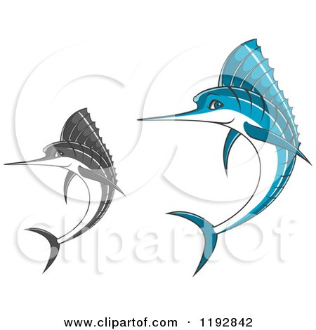 Clipart of Jumping Blue and Grayscale Marlin Fish - Royalty Free Vector Illustration by Vector Tradition SM