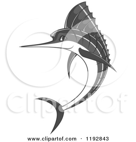 Clipart of a Jumping Grayscale Marlin Fish - Royalty Free Vector Illustration by Vector Tradition SM