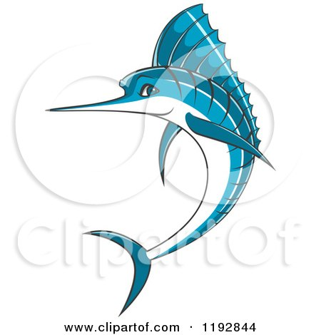 Clipart of a Jumping Blue Marlin Fish - Royalty Free Vector Illustration by Vector Tradition SM