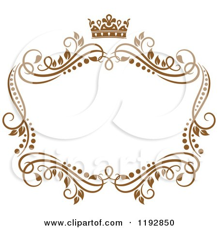 clipart of a golden floral frame with a crown 2 royalty free vector illustration by vector tradition sm