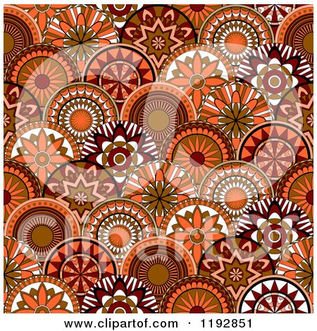 Clipart of a Seamless Pattern of Retro Orange and Brown Circle Flowers - Royalty Free Vector Illustration by Vector Tradition SM