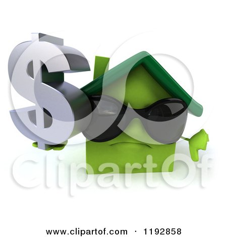 Clipart of a 3d Green House Wearing Sunglasses, Holding a Dollar Symbol and a Thumb down - Royalty Free CGI Illustration by Julos