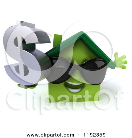 Clipart of a 3d Happy Green House Wearing Sunglasses and Holding a Dollar Symbol - Royalty Free CGI Illustration by Julos