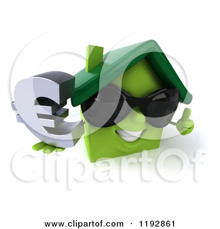 Clipart of a 3d Happy Green House Wearing Sunglasses and Holding a Euro Symbol and a Thumb up - Royalty Free CGI Illustration by Julos
