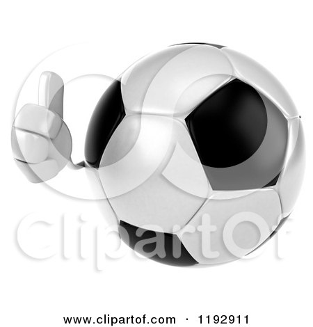 Clipart of a 3d Soccer Ball Mascot Holding a Thumb up - Royalty Free CGI Illustration by Julos