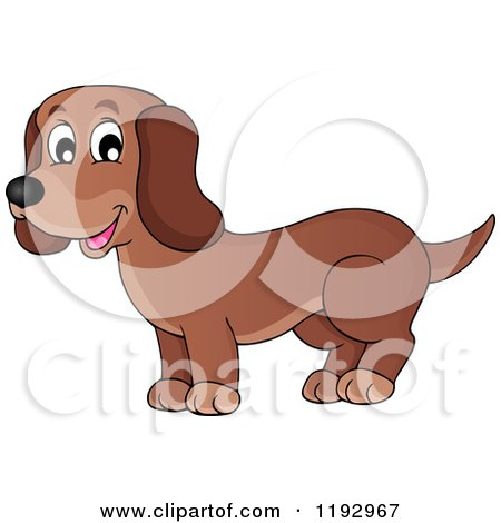 Cartoon of a Happy Brown Dachshund Dog - Royalty Free Vector Clipart by visekart