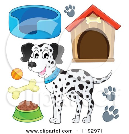 Cartoon of a Happy Dalmatian Dog and Supplies - Royalty Free Vector Clipart by visekart