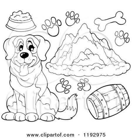 st bernard coloring pages - saint bernard cartoon sketch coloring page
