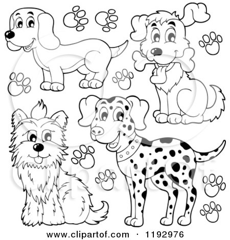 Cartoon of Black and White Happy Dogs and Paw Prints - Royalty Free Vector Clipart by visekart