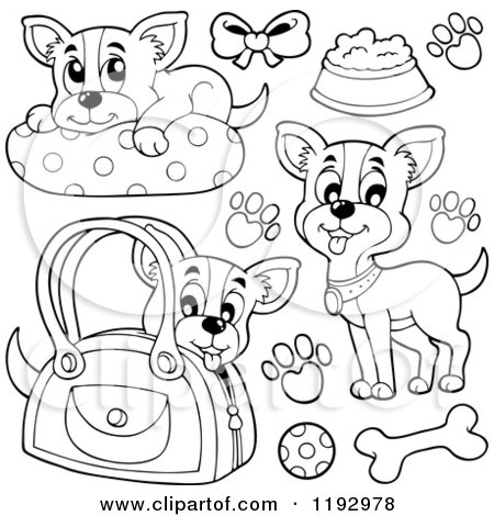 Cartoon of Black and White Happy Chihuahuas with Prints and Supplies - Royalty Free Vector Clipart by visekart