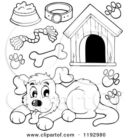 Cartoon of a Brown Dog House with a Bone over the Door ...