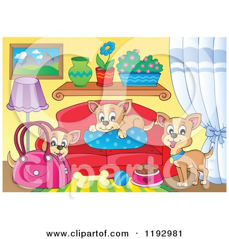 Cartoon of Chihuahua Dogs with Food a Bag and Bed in a Living Room - Royalty Free Vector Clipart by visekart