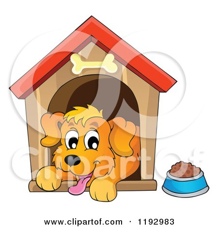 Cartoon of a Happy Dog Panting in a House - Royalty Free Vector Clipart by visekart