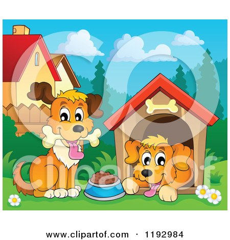 Cartoon of Happy Dogs at a House - Royalty Free Vector Clipart by visekart
