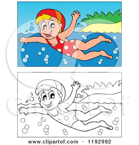 Cartoon of a Happy Blond Girl Swimming near an Island Beach, in Color and Black and White - Royalty Free Vector Clipart by visekart