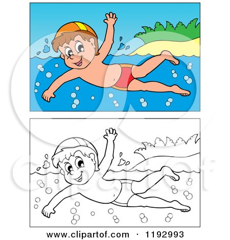 Cartoon of a Happy Boy Swimming near an Island Beach, in Color and Black and White - Royalty Free Vector Clipart by visekart
