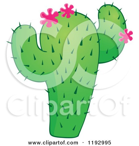 Cartoon of a Green Cacuts Plant with Pink Flowers - Royalty Free Vector Clipart by visekart