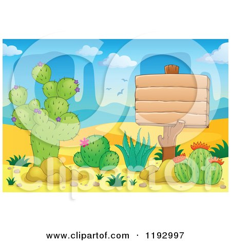 Cartoon of a Wooden Sign and Cacuts Plants in the Desert - Royalty Free Vector Clipart by visekart