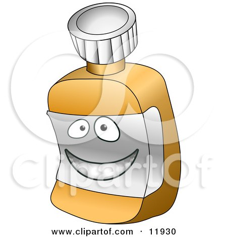 Happy Pill Bottle Cartoon Character Clipart Illustration by AtStockIllustration