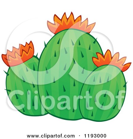 Cartoon of a Green Cacuts Plant with Orange Flowers - Royalty Free Vector Clipart by visekart