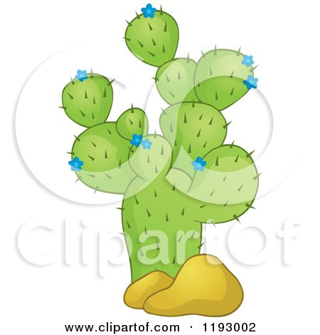Cartoon of a Green Cacuts Plant with Blue Flowers and Boulders - Royalty Free Vector Clipart by visekart