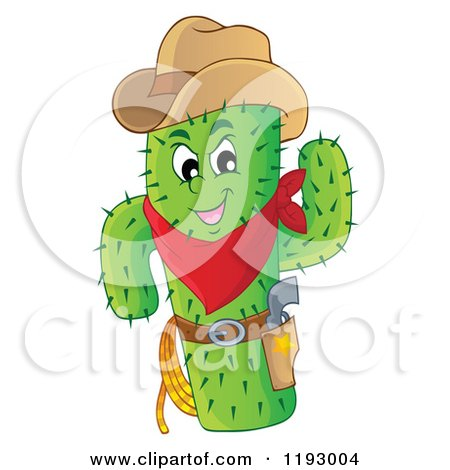 Cartoon of a Green Cacuts Sheriff with a Cowboy Hat - Royalty Free Vector Clipart by visekart