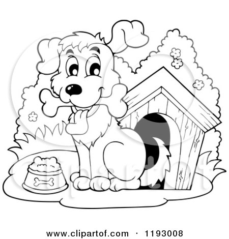 Dog With Collar And House Coloring Page For Kids
