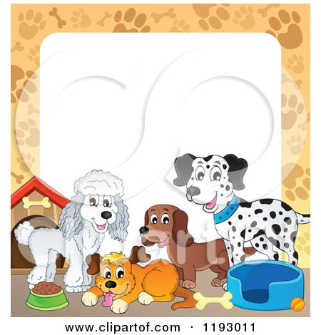 Cartoon of a Border of Dogs and Supplies with Paw Prints Around Copyspace - Royalty Free Vector Clipart by visekart