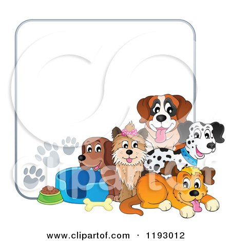 Cartoon of Dogs and Supplies with Paw Prints Around Copyspace - Royalty Free Vector Clipart by visekart