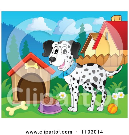 Cartoon of a Happy Dalmatian Dog with Food by a House - Royalty Free Vector Clipart by visekart